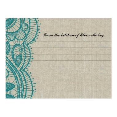 Linen and Teal Lace Personalized Recipe