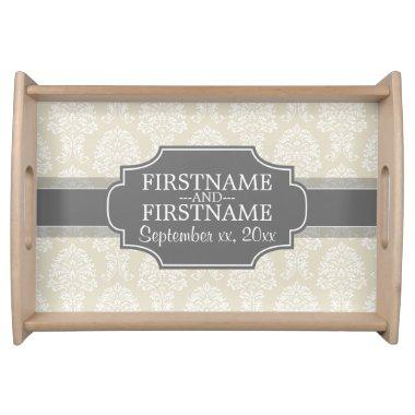 Linen Beige and Charcoal Damask Pattern Serving Tray