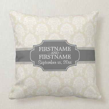 Linen Beige and Charcoal Damask Pattern Throw Pillow