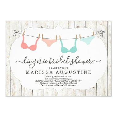 Lingerie Bridal Shower Party - Rustic Clothesline Invitations