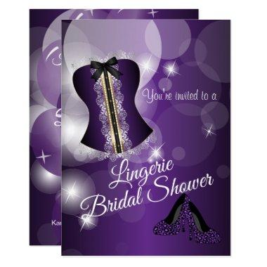 Lingerie Purple Bridal Shower Party Invitations