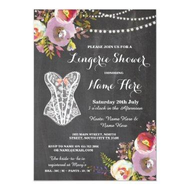 Lingerie Shower Bridal Party Chalk Floral Invite