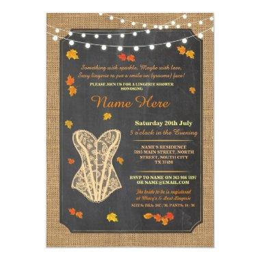 Lingerie Shower Bridal Party Fall Corset Invite