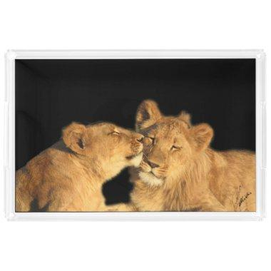 Lion Pair Acrylic Tray, XL Serving Tray