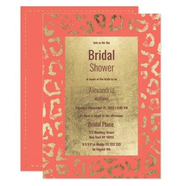 Living coral gold animal print Bridal Shower Invitations