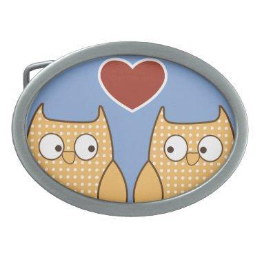 Love Birds Owls Blossom Heart Destiny Shower Party Belt Buckle