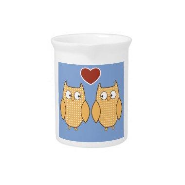 Love Birds Owls Blossom Heart Destiny Shower Party Beverage Pitcher