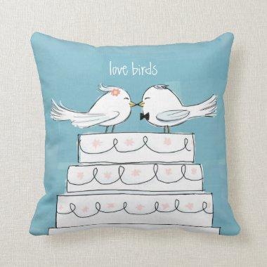 Love Birds Wedding Cake Bride & Groom Kiss Throw Pillow