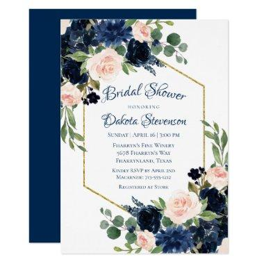 Love Bloom | Chic Blush Navy Floral Bridal Shower Invitations