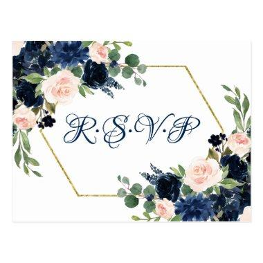Love Bloom | Chic Blush Navy Floral Wreath RSVP PostInvitations
