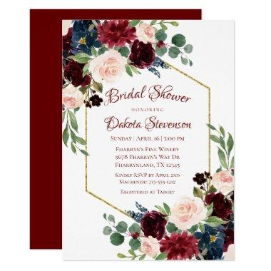 Love Bloom | Elegant Burgundy Floral Gold Frame Invitations