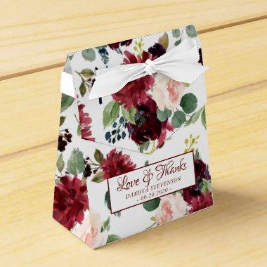 Love Bloom | Elegant Burgundy Marsala Party Favor Box