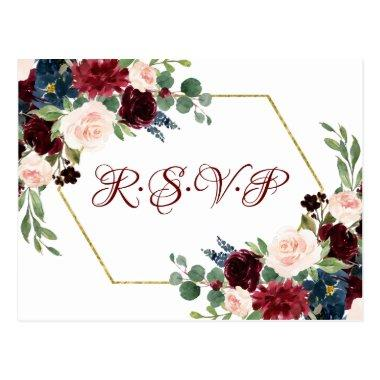Love Bloom | Elegant Red Floral Gold Frame RSVP PostInvitations