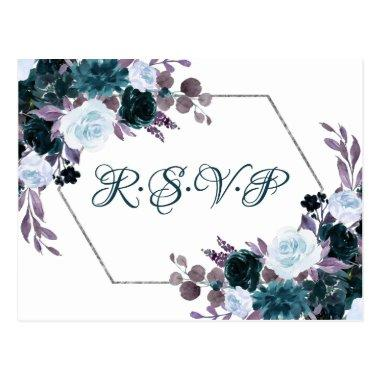 Love Bloom | Teal Turquoise Dark Moody Meal RSVP PostInvitations