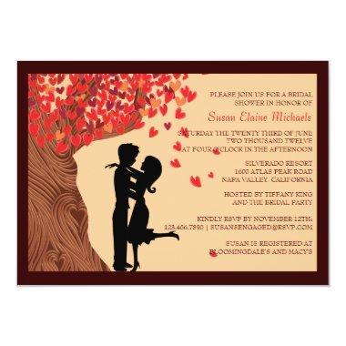 Love Couple Falling Hearts Oak Tree