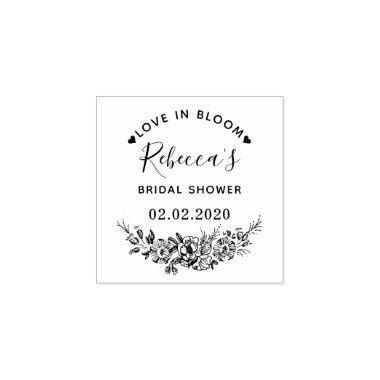 love in bloom custom name bridal shower wedding rubber stamp