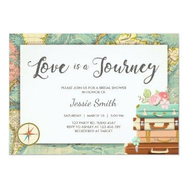 Love is a Journey Travel Bridal shower Invitations