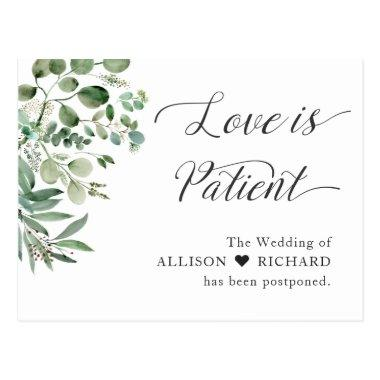 Love is Patient Wedding Postponed Chic Eucalyptus PostInvitations