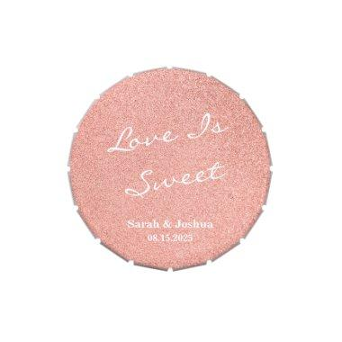 Love is Sweet Rose Gold Glitter Wedding Round Candy Tin