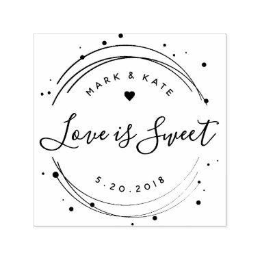 Love is Sweet Wedding Favor Self Inking Stamp