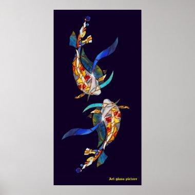 Love Kissing Koi fish Wedding Poster vertical