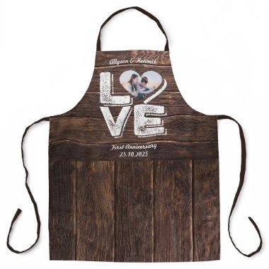 Love Rustic Woodland Photo Heart Frame Monogram Apron