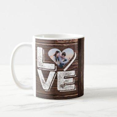 Love Rustic Woodland Photo Heart Frame Monogram Coffee Mug