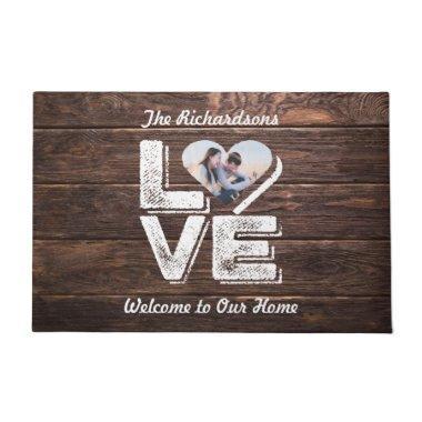 Love Rustic Woodland Photo Heart Frame Monogram Doormat