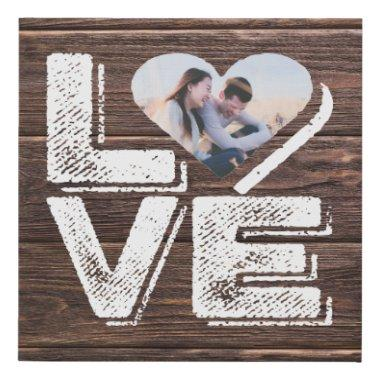 Love Rustic Woodland Photo Heart Frame Monogram Faux Canvas Print