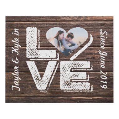 Love Rustic Woodland Photo Heart Frame Monogram Faux Canvas Print