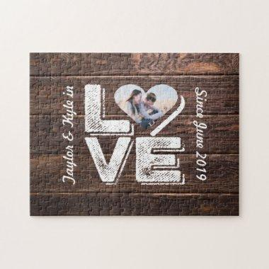Love Rustic Woodland Photo Heart Frame Monogram Jigsaw Puzzle