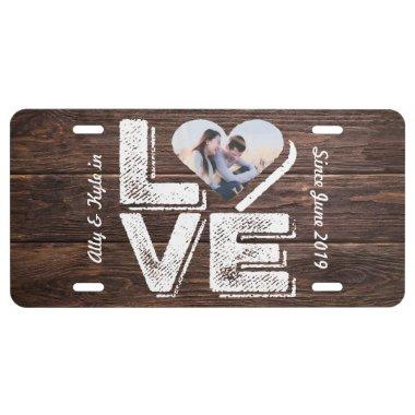 Love Rustic Woodland Photo Heart Frame Monogram License Plate