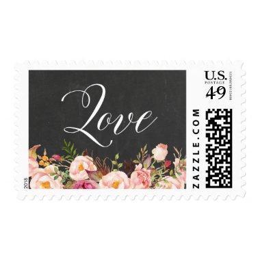 Love Script Rustic Floral Vintage Chalkboard Postage