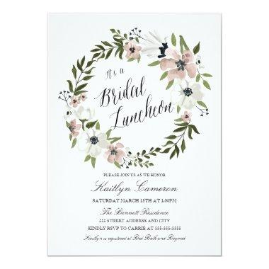 Lovely Floral Wreath- Bridal Luncheon Invitations