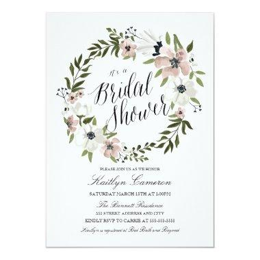 Lovely Floral Wreath- Bridal Shower Invitations