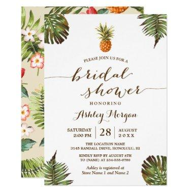 Luau Tropical Leaves Pineapple Bridal Shower Invitations