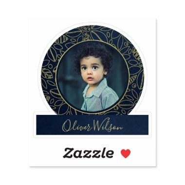 LUXE NAVY GOLD ELEGANT ROSE FLORAL PERSONAL PHOTO STICKER