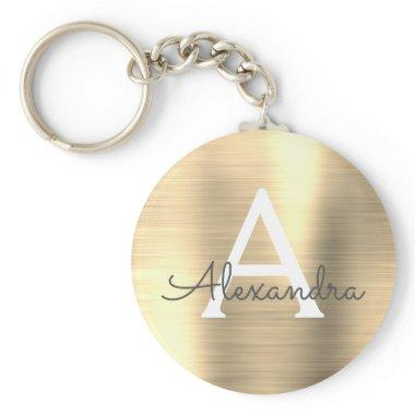 Luxury Gold Faux Stainless Steel Monogram Keychain
