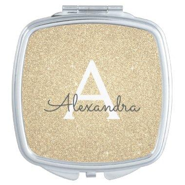Luxury Gold Glitter and Sparkle Monogram Compact Mirror