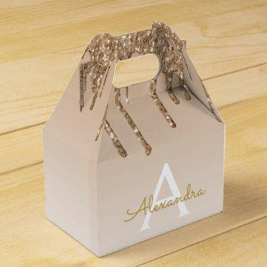 Luxury Gold Glitter & Sparkle Monogram Favor Box