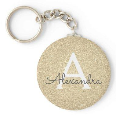 Luxury Gold Glitter & Sparkle Monogram Keychain