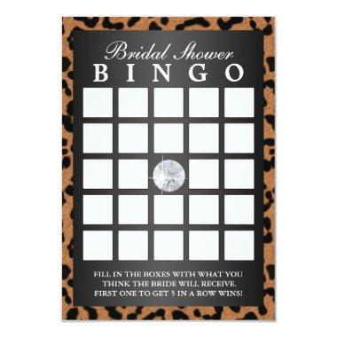 Luxury Leopard Print Bridal Shower Bingo Invitations