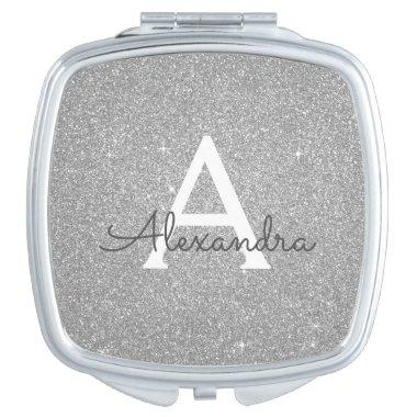 Luxury Silver Glitter and Sparkle Monogram Compact Mirror