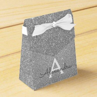 Luxury Silver Glitter & Sparkle Monogram Favor Box
