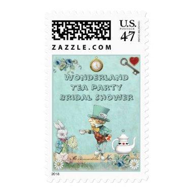 Mad Hatter Wonderland Tea Party Bridal Shower Postage