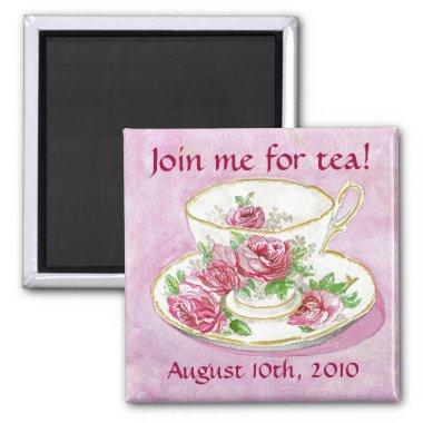 Magnet - Customize me! Pink Rose Teacup Tea