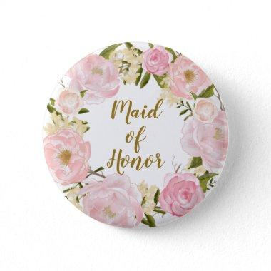 Maid of Honor Blush Pink Floral Round Badge Button