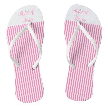 Maid of Honor, Bridal,Wedding, Pink Cute Flip Flops