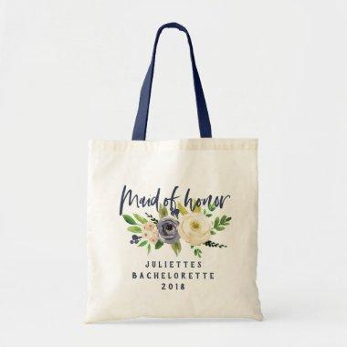 Maid of honor floral watercolor tote bag
