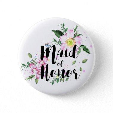Maid of Honor Pink Floral Watercolor Wedding Pinback Button